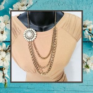 Heavy Multi-Layered Daisy/Pearl Statement Necklace